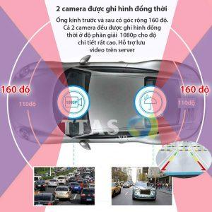 Camera độ phân giải Full HD vối góc rộng 160 độ bao quát trước và sau xe